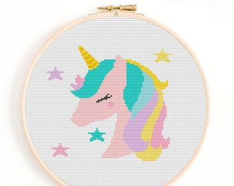Unicorn Cross Stitch Pattern PDF, girl Cross Stitch, Unicorn Embroidery, Modern Cross Stitch, Cute Nursery Decor, Digital cross stitch, pdf
