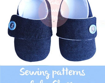 Kids sewing pattern PDF / fabric baby booties/ newborn shoes with baby button/ boys blue shoes/ little boy shoes/ Shoes size 0m-12m