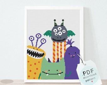 Funny monsters cross stitch pattern, baby xstitch, counted cross stitch, Little monster chart, baby boy, DIY nursery decor, cross stitch PDF