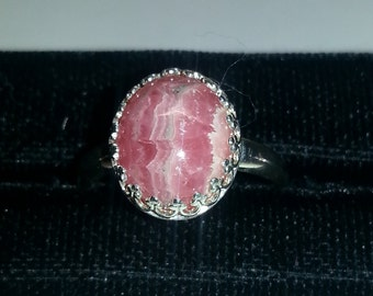 Oval rhodochrosite and sterling silver ring, size 6 3/4.