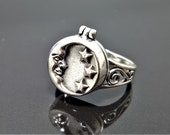 925 Sterling Silver Crescent Moon Locket Ring Moon and Stars Celestial Sacred Symbols Talisman Occult Secret Compartment