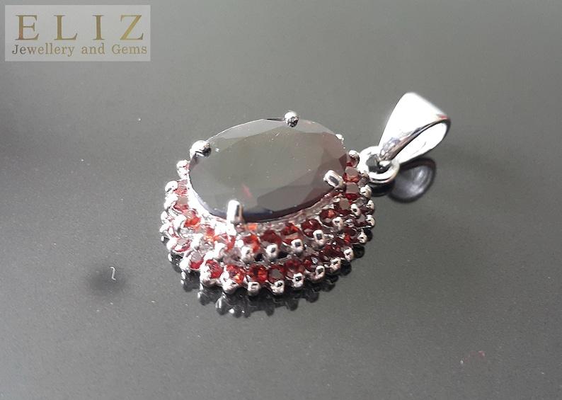 Eliz Very Rare HUGE Genuine Garnet Sterling Silver 925 Pendant Exclusive Gift Natural Red Gemstone