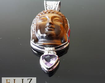 Big Buddha Tiger Eye Carved Sterling Silver Pendant Genuine Amethyst Exclusive Design