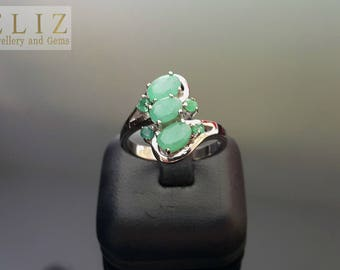 Genuine EMERALD Sterling Silver Ring