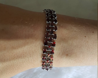 925 Sterling Silver Barcelet Genuine PERFECT Precious Garnet 7.5 inches
