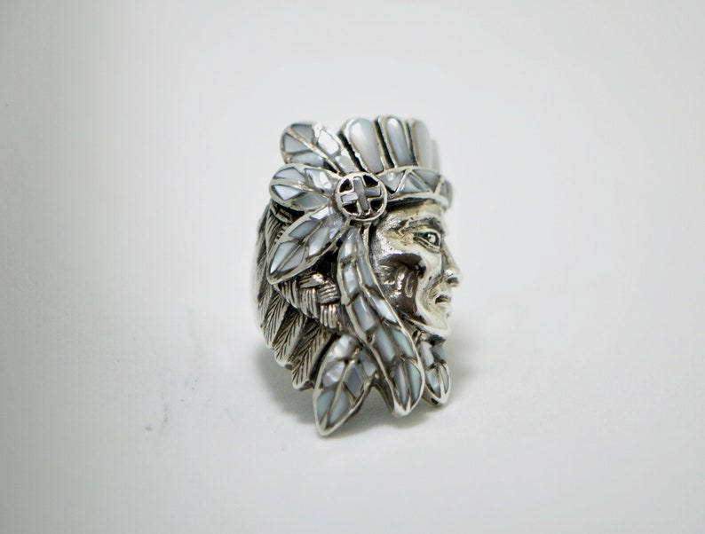 Eliz 925 Sterling Silver Natural Mother of Pearl American Indian Profile Ring Handmade Exclusive Design