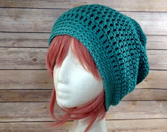 Hand Crochet Super Slouch Large Adult Hat - Gorgeous Teal Green Ombre - Ready to ship!