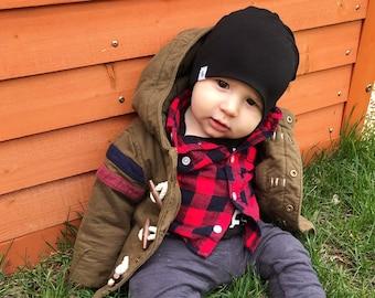 BLACK bamboo slouchy beanie // black slouchy beanie // beanie for baby, toddler, kid  // bamboo slouchy beanie // slouchy beanie