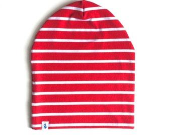 Baby Beanie - Slouchy Beanie - Red Stripe Slouchy Beanie - Beanie Hat - Baby Slouchy Beanie - Slouchy Hat
