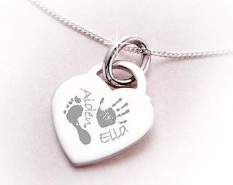 Engraved Sterling Silver Handprint / Footprint Necklace
