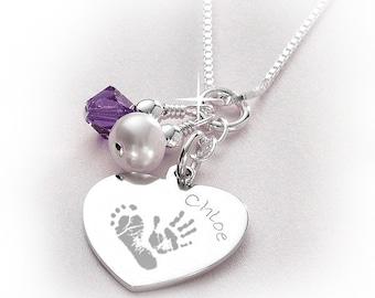 Personalised Sterling Silver Handprint / Footprint Necklace & Birthstone Crystal