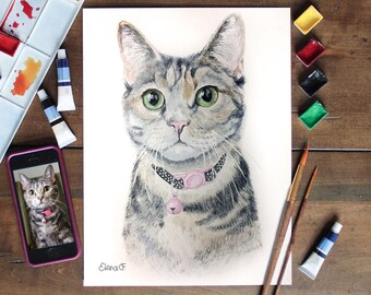 Custom pet portrait. Watercolor painting. Original. Custom dog portrait. Custom cat portrait.