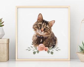 Custom Watercolor Pet Portrait   Dog/Cat Portrait   Digital watercolor   Custom Pet Art   Custom Pet Print   Memorial Pet Portrait  Pet Gift
