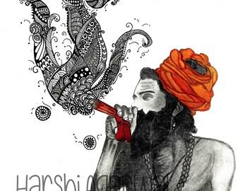 Indian Baba Smoking