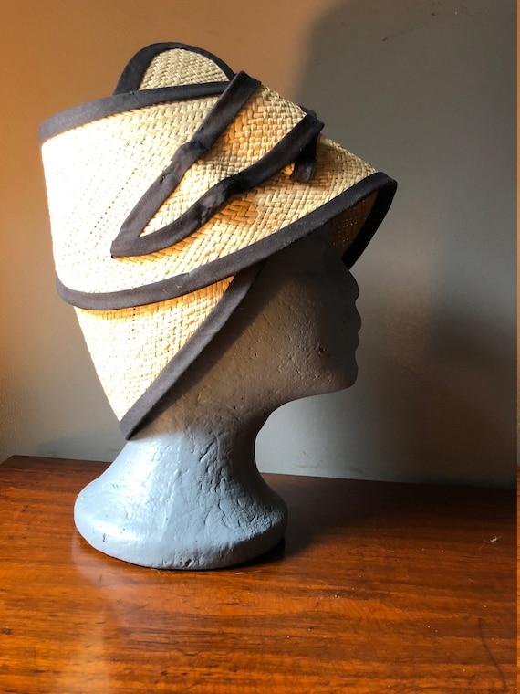 Cappello di paglia Wrap stile anni   40  adcceea897b3