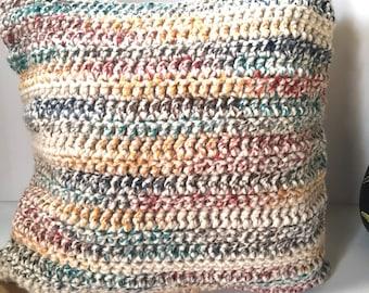 "Chunky Mutlicolor Crochet Pillow 18""x 18"""