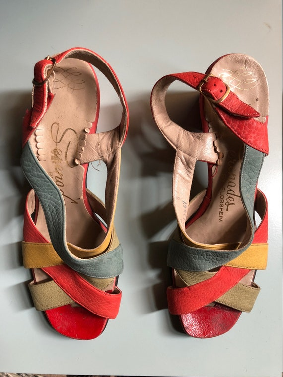 Bright Red Multi-Colored 50's 60's Sandals 6