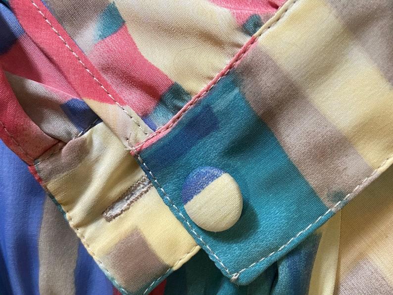 80/'s Abstract Print Blazer Dress Shirt