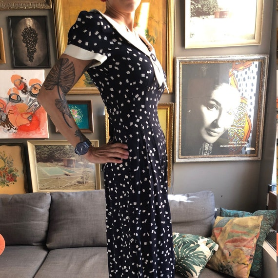 80's does 1940's Navy Dream Jumpsuit