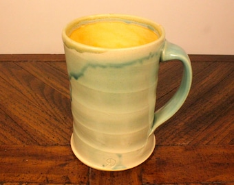Light Green & Yellow Ceramic Mug, wheel thrown