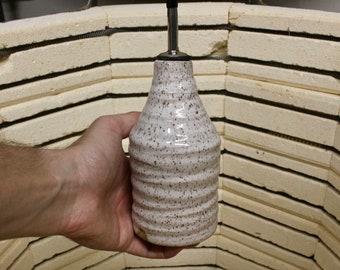 White Speckle Ceramic Oil/Soap Dispenser, wheel thrown