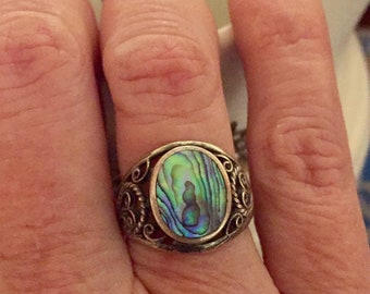 Sterling Silver And Abalone Ring, Size 6