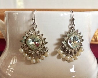 Gorgeous Rhinestone And Pearl Dangle Earrings Bridal Jewelry Glamour!
