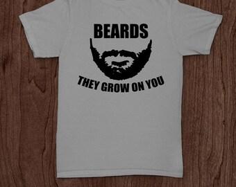 2e79a8d322 Beards grow on you funny beard bearded beards moustache t-shirt tee shirt  tshirt Christmas dad father father's day men's men family daddy