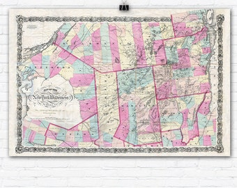 Vintage 1867 Adirondack Mountains Map Reprint