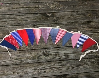 Patriotic red, white, and blue fabric pennant banner