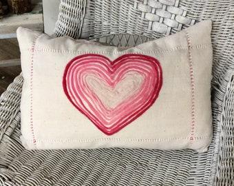 Felted wool heart pillow