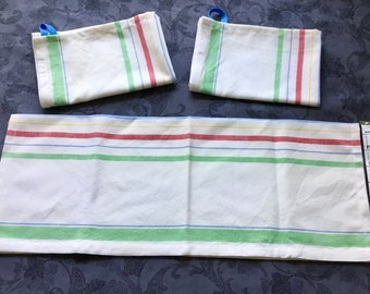 Primary colors striped cotton kitchen towels with hanging loop