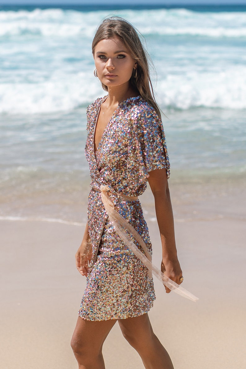 Sequins DRESS backless bow tulle straps top skirt bridal lace robe kimono gemstone bikini burning man festival outfit Gold bronze floral gem
