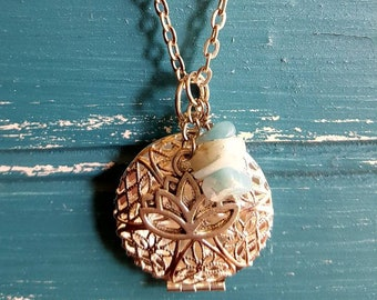 Essential oil diffuser necklace, aromatherapy necklace, lotus and amazonite chip beads