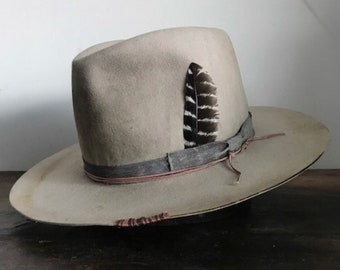 4aef284021298 Custom wide brim western fedora aged and distressed wide brim hat