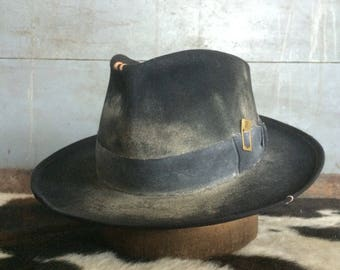 Black fedora black wide brim fedora aged and distressed black hat 9cb9d6bd784