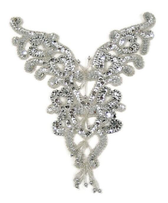 Sequin Beaded for Ballet Tutu Dance Stage Costumes Trim #180 Silver Applique