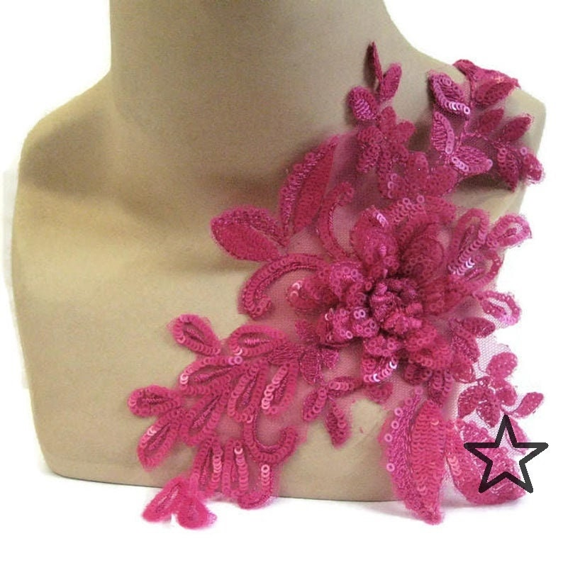 Applique Trim Pair Pink Purple Fuchsia Lace Appliques Dance Costume Bridal #46