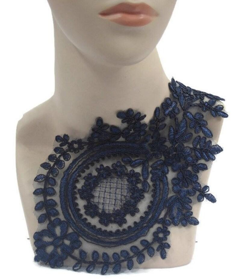 Tutu Dance Stage Costume Trim Navy Blue Applique 3D Lace Pair #125