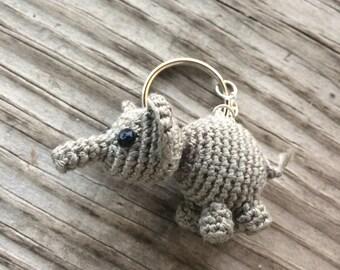 Kawaii Amigurumi Crochet Elephant Keychain or Bag Accessory