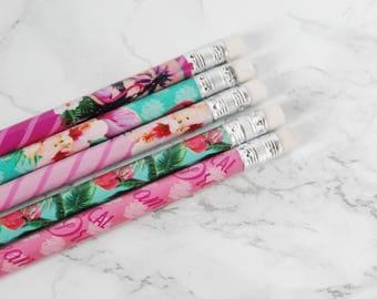 Flamingo Pencils Set - Flamingos Pencil Set - Flamingo Pencils - Flamingo Stationery - Tropical Pencils Set - Aloha Pencils Set