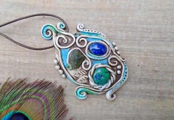 Starseed Necklace Moldavite Pendant Lapiz Lazuli Azurite | Etsy