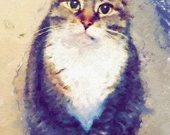 Custom cat portrait watercolor Art Cat lover Pet gift Personalized cat gift for pet lover portrait pet custom portrait