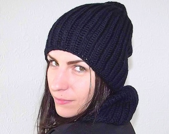Knit merino wool / knit hat and scarf / comfy knit set