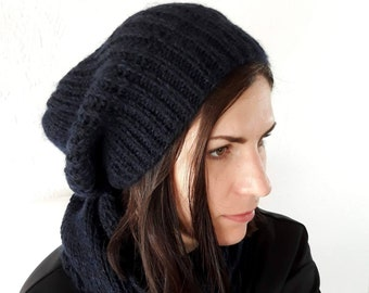 Knit merino wool and mohair set / knit hat and scarf / comfy knit set