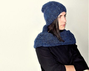 Knit alpaca wool and kid mohair set / knit wool hat and scarf / blue comfy knit set