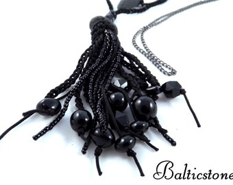 Necklace with baltic beach stone. Black - the color of the winter type. All cool intense colors.