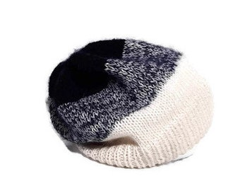 Knitted women beanie hat/white and blue merino wool and mohair slouchy hat/wool women accessories
