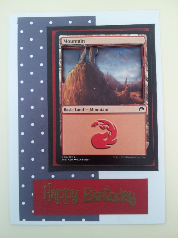 Magic The Gathering Red Land Dimensional Happy Birthday Card