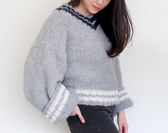 V-Neck Textured Sweater With Extra (Extra) Long Sleeves